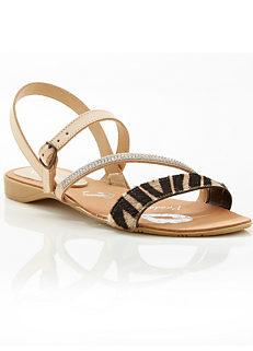 f77797152 Beige Italian Leather Animal Strappy Sandals by Kaleidoscope