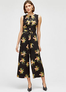 7bb4495dfbf Black Multi  Tropical Bunch  Culotte Jumpsuit by Warehouse