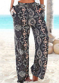 6d7363fd0df6 Black Wide Leg Beach Pants by LASCANA