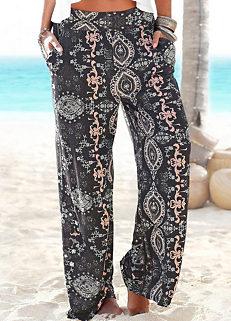 362bc30194 Black Wide Leg Beach Pants by LASCANA