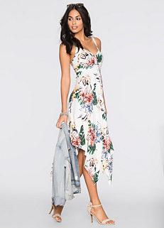 638e24db7c771a Ivory Floral Waterfall Hem Dress by BODYFLIRT