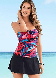 0e675c14dd Pink Printed Leaf Skirt Swim Dress by bpc selection