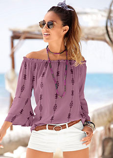 760039e4136d91 Purple Print Blouse by LASCANA