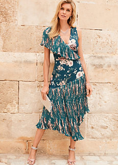 b89390db8b Teal Print Floral Dipped Hem Dress With Pleating by Kaleidoscope