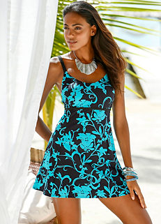 1b3e4e29ca20 Turquoise Floral Printed Shaper Swim Dress by bpc selection