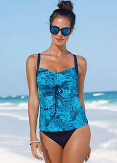 17f37a9f374 Turquoise Print Leaf Print Tankini by bpc bonprix collection