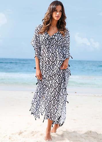3e3ed0d63a Black & White Print Long Beach Kaftan by bpc selection   Swimwear365