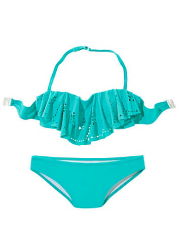 buffalo girls turquoise frilled bandeau bikini swimwear365. Black Bedroom Furniture Sets. Home Design Ideas