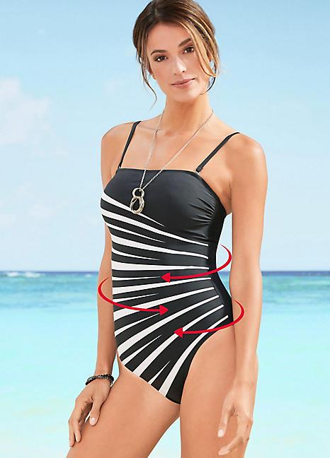 eea48b985 Black   White Zebra Print Shaping Swimsuit by bpc selection ...