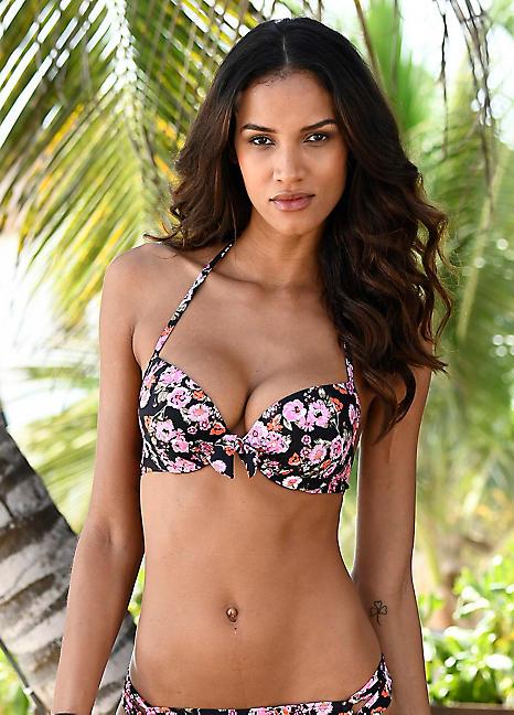 fb7c2c0398da0 Black Floral 'Blumli' Push-Up Bikini Top by LASCANA | Swimwear365