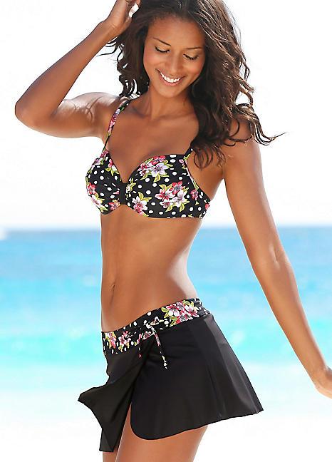 3255531f790 Black Floral Swim Skirt With Briefs by LASCANA   Swimwear365
