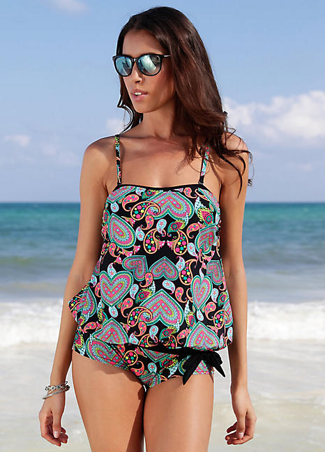 42bc2dae5d Black Print Oversize Tankini Top by bpc bonprix collection | Swimwear365
