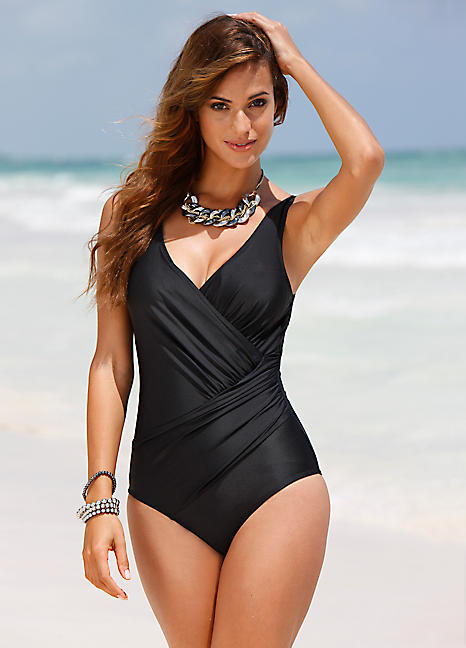 5700424e18f Black Tummy-Wrap Shaping Swimsuit by bpc selection