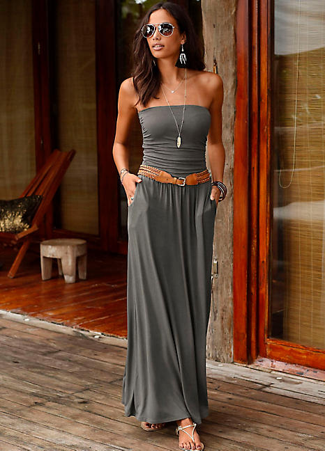 2721d7fc4b Khaki Bandeau Maxi Dress by LASCANA