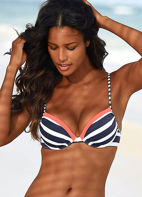156b1fd3 Navy Stripe 'Anita' Push-Up Bikini Top by Kangaroos | Swimwear365