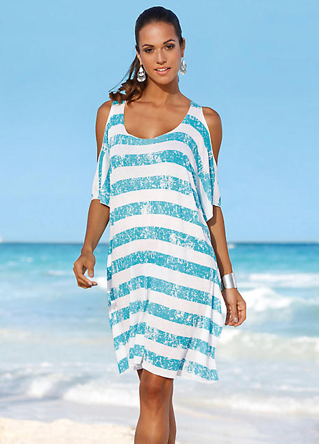 9ac72ac33ee Turquoise Stripe Beach Cover-Up Dress by bpc selection   Swimwear365