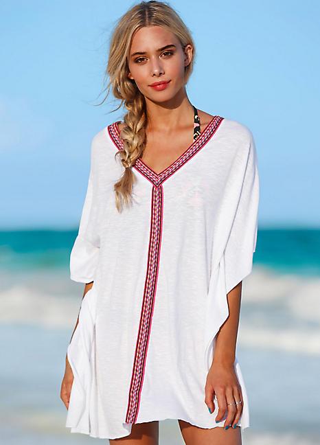 4728c9d6fc White Ribbon Trim Beach Kaftan by RAINBOW   Swimwear365