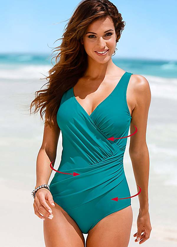 Emerald Wraparound Shaper Swimsuit by bpc selection