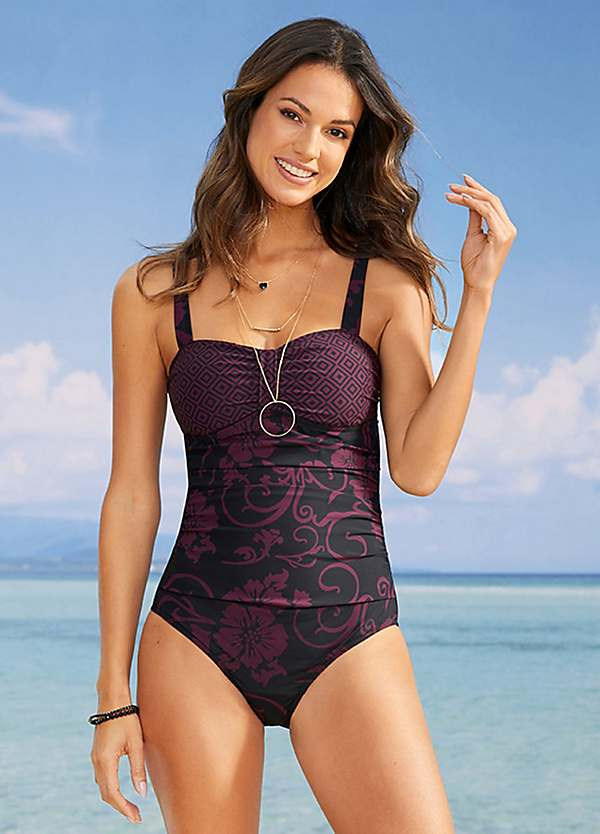 Maroon Print Shaper Swimsuit by bpc selection